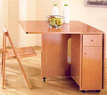 Muebles que optimizan la funcionalidad del espacio - Mesas de cocina pequenas plegables ...